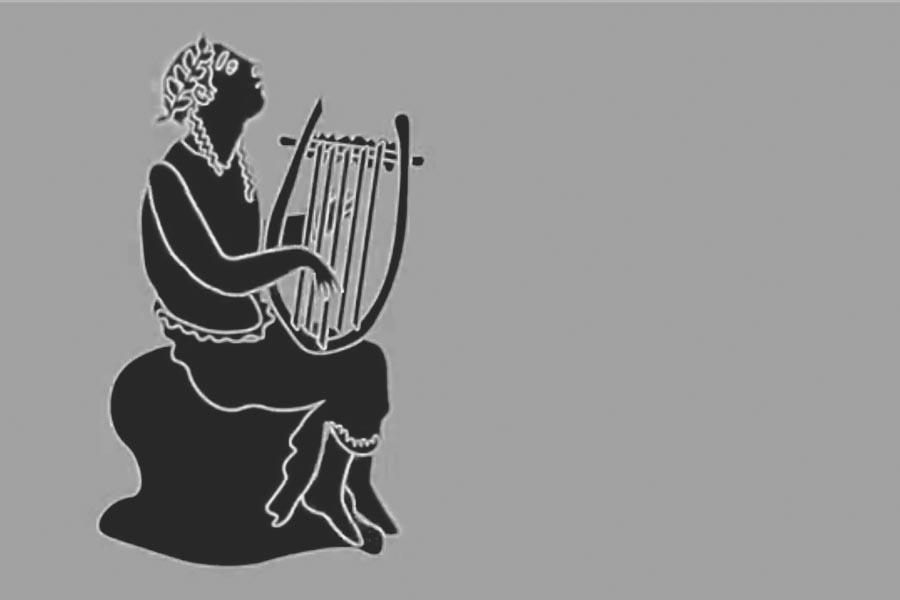 Zu sehen ist eine schwarze Grafik in der Orpheus eine Harfe spielt.