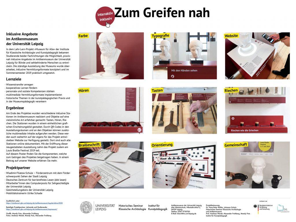 Dies ist ein Poster mit Informationen zu dem Projekt Zum Greifen nah.