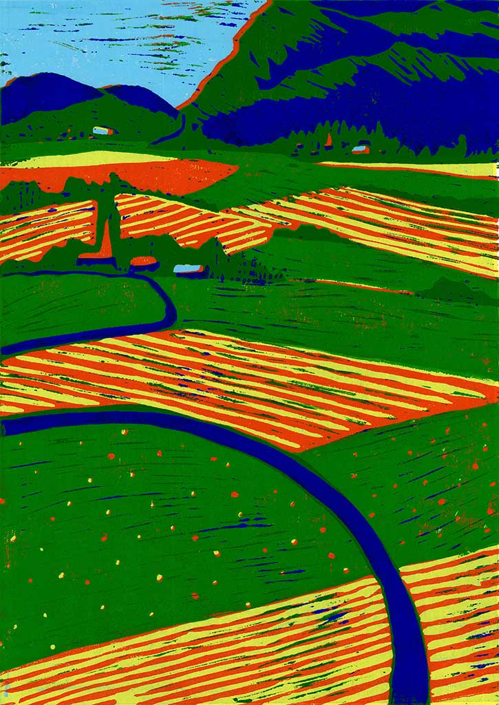 Originaldruckgrafischer Linolschnitt einer Landschaft in bunten Farben