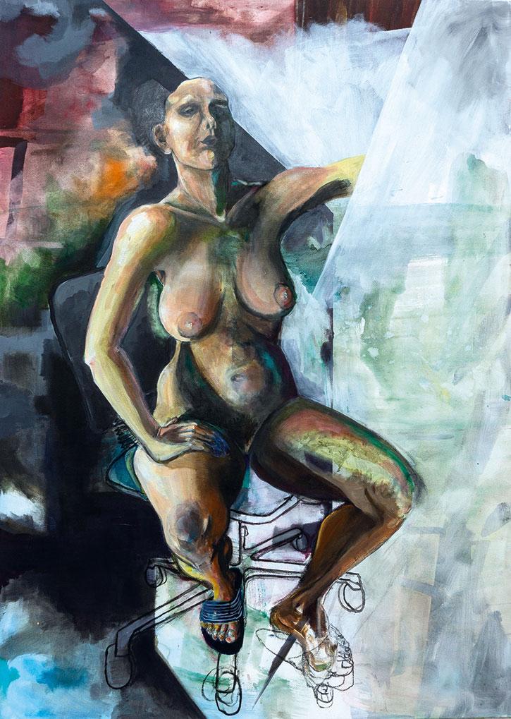 Expressive Malerei Figur im Raum