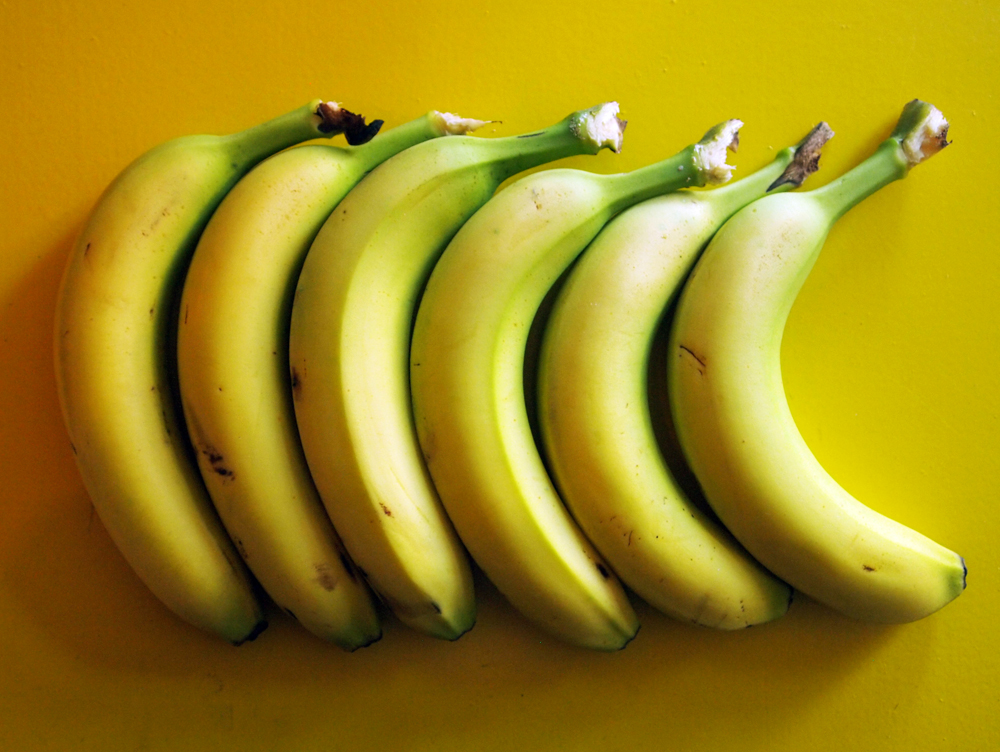 Sechs gleichförmige nebeneinander liegende Bananen auf gelbem Untergrund